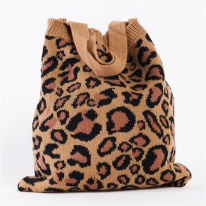 Khaki Leopard Knit Boho Tote Bag